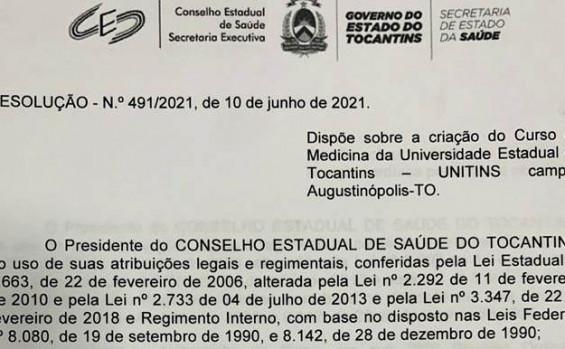 Conselho Estadual de Saúde aprova curso de Medicina da Unitins em Augustinópolis