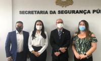 Secretário da Segurança Pública recebe delegado e perita criminal que fizeram mestrado em Salamanca na Espanha