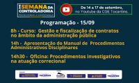 Curso de fiscal de contratos e oficina de procedimentos investigativos fazem parte da programação da 1ª Semana da Controladoria